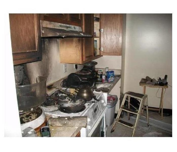 A stove top fire in a home