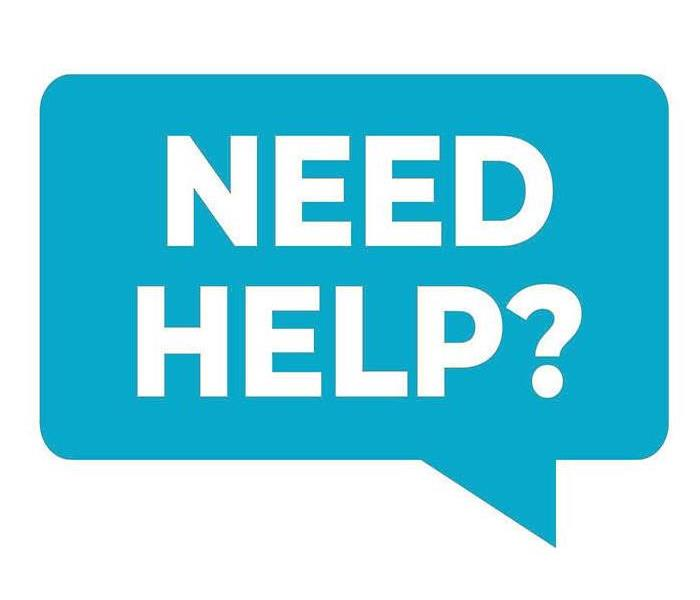 "Blue speech bubble with ""Need Help?"" in white"